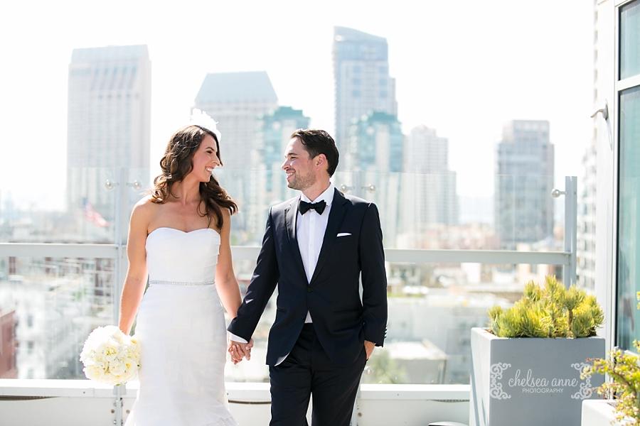 hotel indigo wedding, downtown san diego wedding, san diego skyline, gaslamp wedding